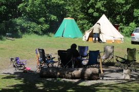 In the organisers' camp, 2014. Photo courtesy of Mark H.
