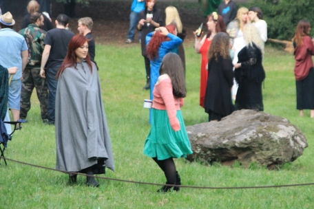 Ritualists celebrate after the 33rd annual Beltane ritual at the Mount. Photo courtesy of Kylie Moroney, 2014.