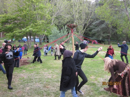 Dancing the Maypole at the 30th Anniversary, 2011.