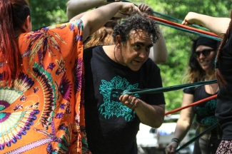 Paul looking groovy in his MFPG tshirt at the 2015 Gathering. Photo courtesy of Kylie Moroney.