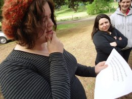 Josie learns her lines, 2011.