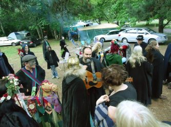 Ritualists gather before the 2011 ritual.