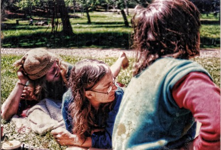 Relaxing in the sun, 1985. Photo courtesy of Linda.