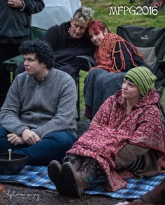 Keeping warm at the 2016 Gathering. Photo by Kylie Moroney.